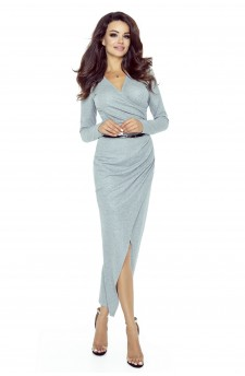 75-02 MARITA sukienka z asymetrycznym drapowaniem (SZARY ŚREDNI BŁYSK)