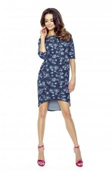 Sukienka w odcieniu melanżowego jeansu w kwiaty z krótszym przodem i wydłużonym tyłem
