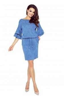 81-03 VIOLA urocza sukienka z modnymi rękawami (niebieski średni)