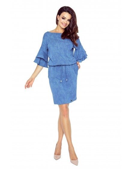81-03 VIOLA beautiful dress with fashionable sleeves (jeans medium blue)