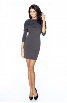 .22-02 - GRAZIA- classic, simple dress with inlaid golf (graphite)