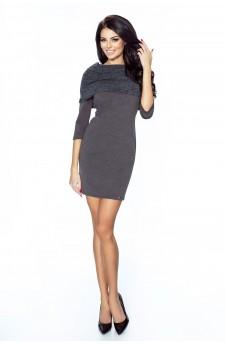 22-02 Grazia - klasyczna prosta sukienka z wykładanym golfem (grafit)