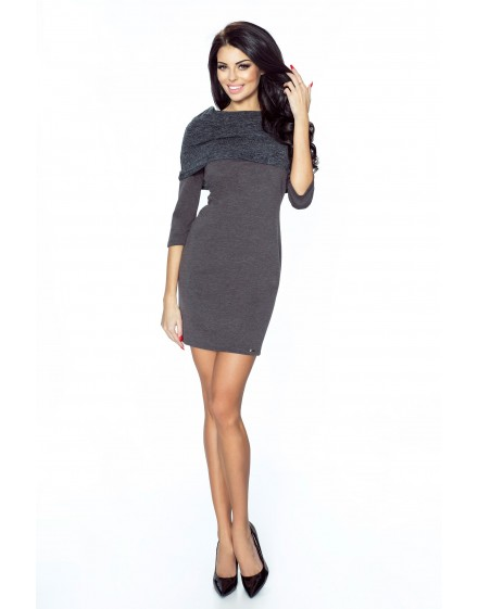 .22-02 - GRAZIA- classic, simple dress with inlaid golf (graphite)