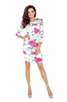 69-07 CHICA sukienka z pęknięciem na ramieniu (gałązka bordo)