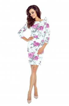 69-08 CHICA dress with a gap on the shoulder (violet prints)