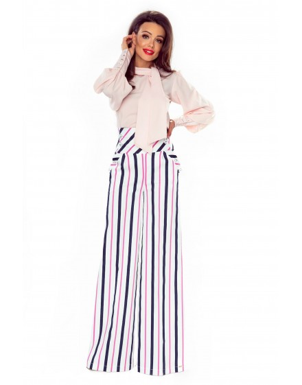 91-14 Elegant trousers with high status (white in navy and pink stripes)