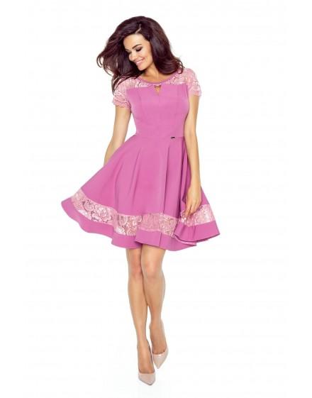 59-04 BIANCA – elegancka sukienka z pęknięciem w dekolcie (BRUDNY RÓŻ)