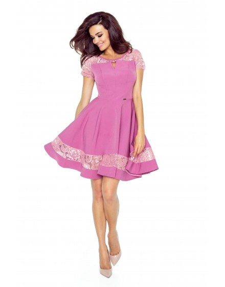 59-04 BIANCA – elegant dress with décolletage cut (DIRTY PINK)