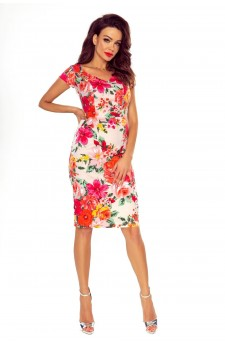 Ołówkowa sukienka koktajlowa w kwiaty
