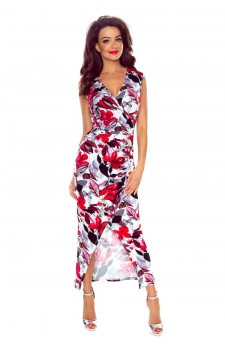 108-01 Marina Sukienka z asymetrycznym drapowaniem (czerwone kwiaty)