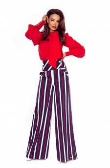 91-16 Elegant trousers with high status (navy in white and red stripes)