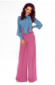 91-13 Eleganckie spodnie z wysokim stanem(wrzos)