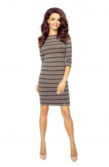 27-13 Eleonora - dress with neckline on the back ( brown stripes)