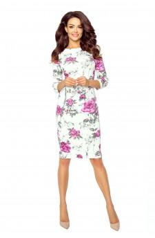 27-08 Eleonora – sukienka z dekoltem eksponującym plecy (gałązka fiolet)