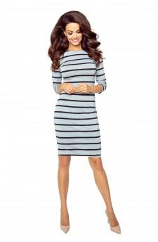 27-12 Eleonora - dress with neckline on the back ( gray stripes)