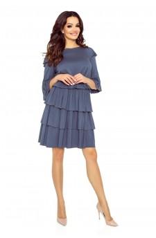 99-02 MEGGI sukienka z trzema falbanami (jeansowy granat)