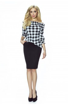 19-02 - CROSSY - Spanish blouse with motive in grille (white white)