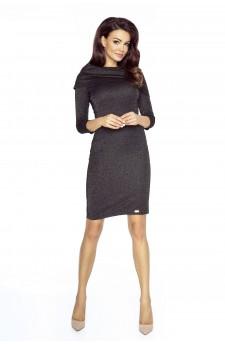 22-06 Grazia - klasyczna prosta sukienka z wykładanym golfem (czarny błysk)