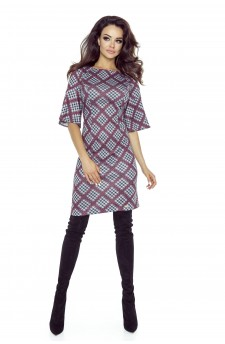 Checked dress with wide sleeves