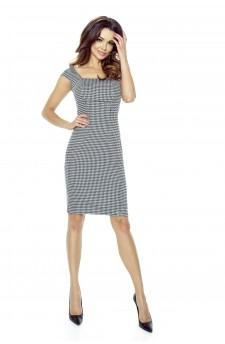 31-02 - OLENA - simple dress with neckline-diamond (checked gray)