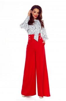 91-07 Eleganckie spodnie z wysokim stanem(czerwone)