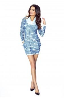 08-03 Sukienka dzienna z obszernymi kieszeniami (przecierany jeans niebieski)
