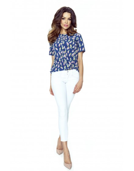 66-02 ADA classic and comfy blouse (feathers navy)