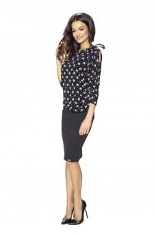 36-01 - Chimono - soft blouse with decorative ribbon (black)