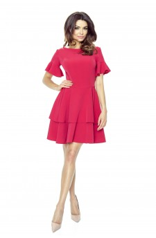 62-03 LIDIA neat double-rounded dress (dark pink)