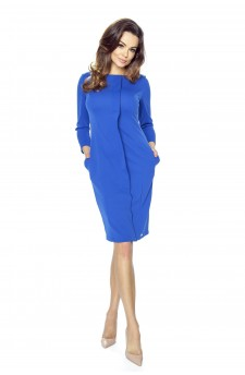 47-04 ZITA – elegant dress with crease (blue)