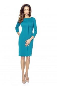 47-03 ZITA – elegancka sukienka z plisą (zieleń turecka)