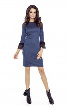 74-01 PILAR klasyczna prosta sukienka z mankietami(GRANAT )