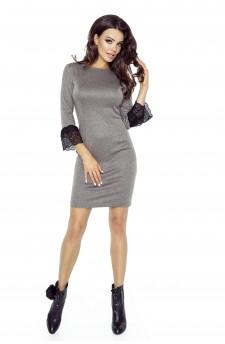 74-02 PILAR klasyczna prosta sukienka z mankietami(BRĄZ)